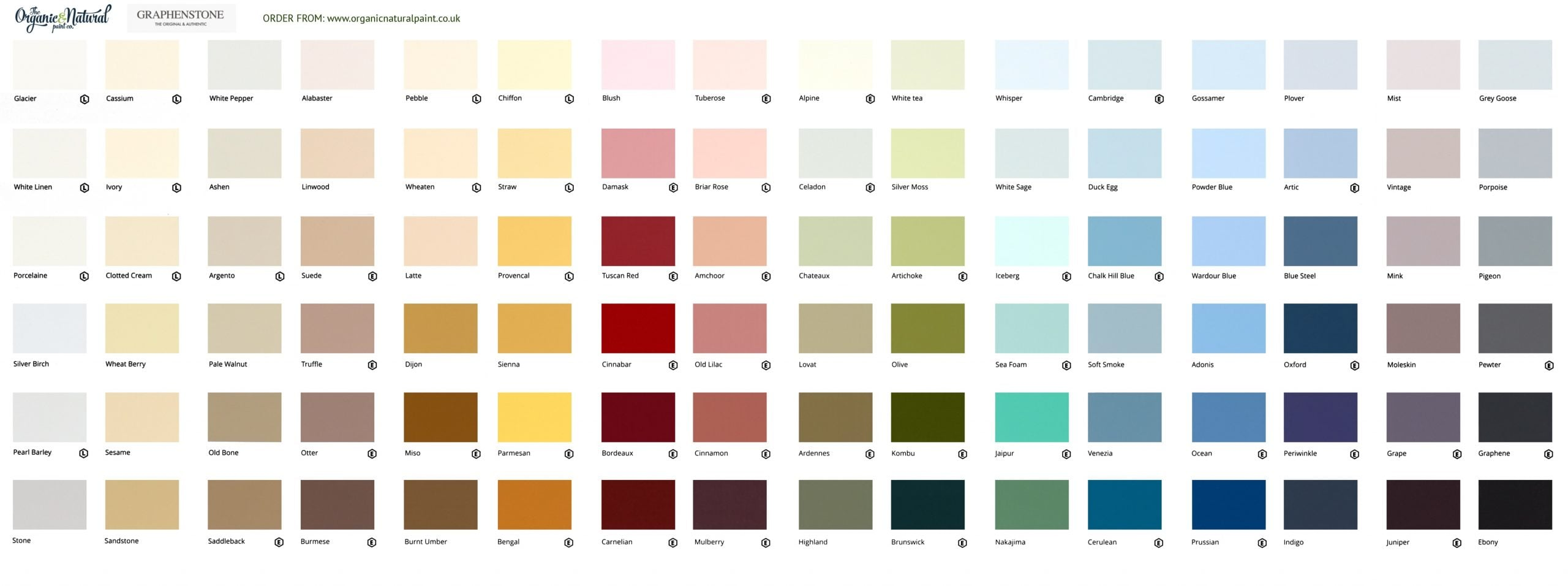 Graphenstone Natural Colour Chart